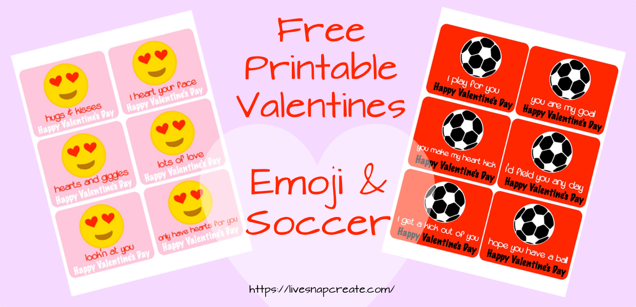 Free Printable Valentines – Emoji and Soccer
